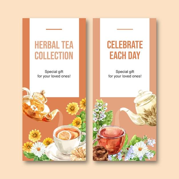 Panfleto de chá de ervas com camomila, ilustração em aquarela de hortelã-pimenta. Vetor grátis