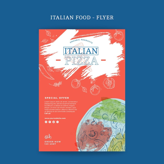Panfleto de comida italiana vertical Vetor grátis
