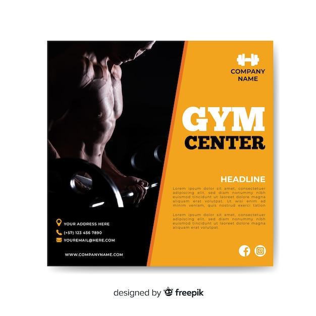Panfleto de esporte com foto Vetor grátis