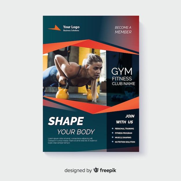 Panfleto de esporte com modelo de foto Vetor grátis