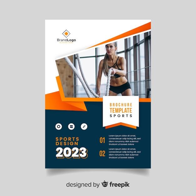 Panfleto de esporte modelo com foto Vetor grátis
