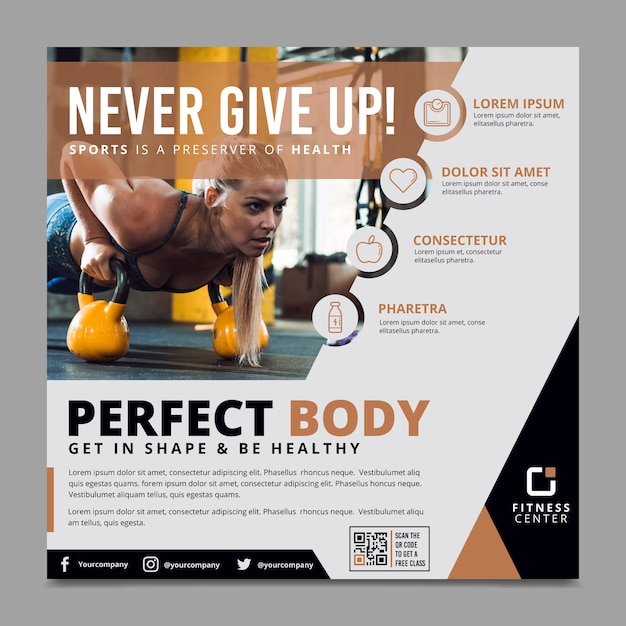 Panfleto de esporte modelo com imagem Vetor grátis