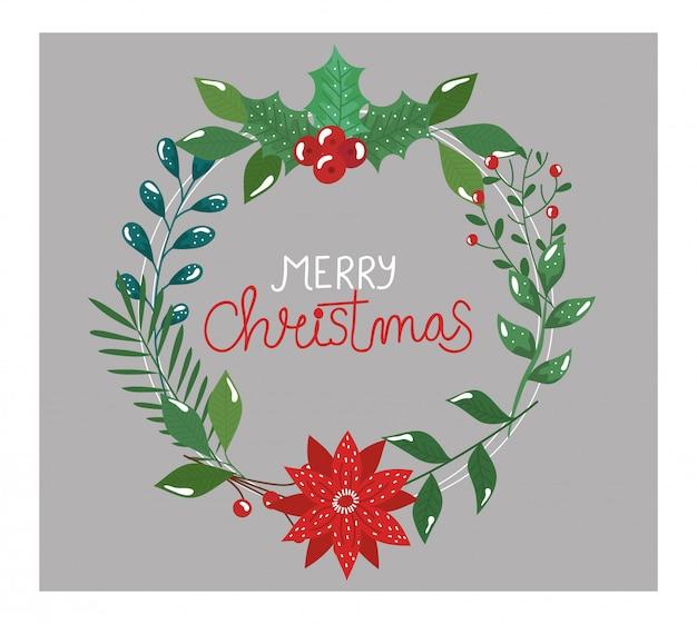 Panfleto de feliz natal com coroa de folhas e flores Vetor grátis