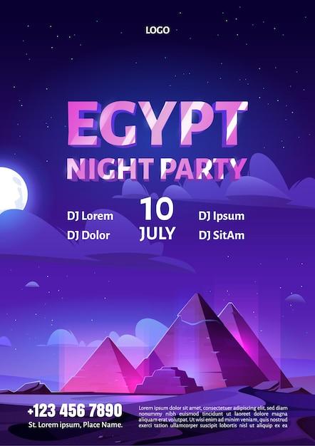 Panfleto de festa à noite no egito com pirâmides brilhantes no deserto escuro com a lua Vetor grátis