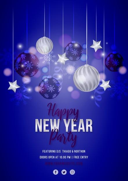 Panfleto de festa azul ano novo com decoração azul e prata Vetor grátis
