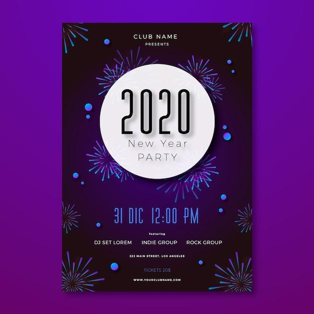 Panfleto de festa de ano novo modelo em design plano Vetor grátis