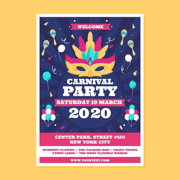 Panfleto de festa de carnaval em design plano Vetor grátis
