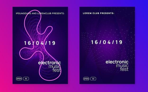 Panfleto de festa de dj de néon. electro dance music. techno trance. electro Vetor Premium