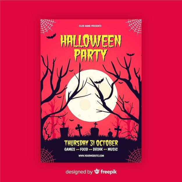 Panfleto de festa de halloween de lua cheia e preto ramos Vetor grátis
