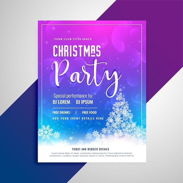 Panfleto de festa de natal com árvore de flocos de neve Vetor grátis