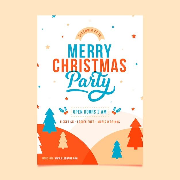 Panfleto de festa de natal de modelo de design plano Vetor grátis