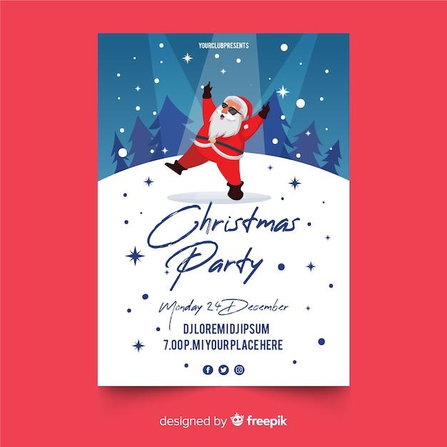 Panfleto de festa de natal em design plano Vetor grátis