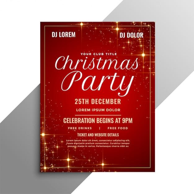Panfleto de festa de natal vermelho com brilhos Vetor grátis