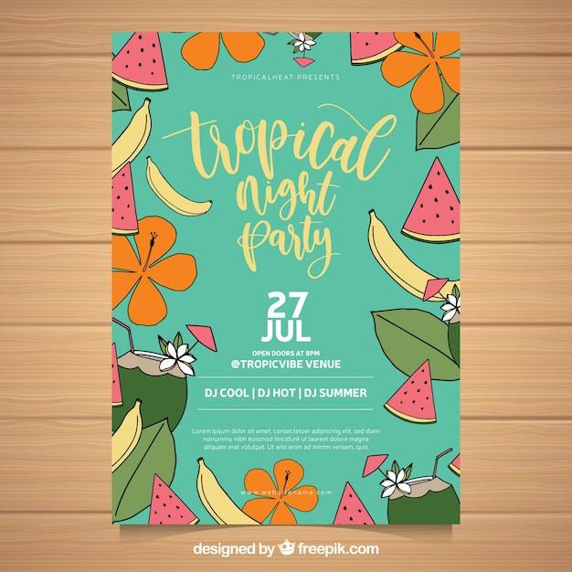 Panfleto de festa de verão com frutas e flores Vetor grátis