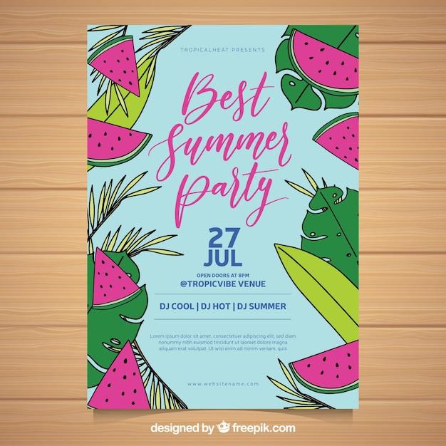 Panfleto de festa de verão com melancias Vetor grátis