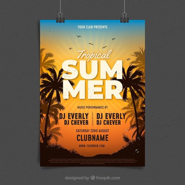 Panfleto de festa de verão com palmas Vetor grátis