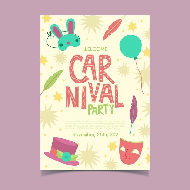 Panfleto de festa desenhada de mão de carnaval Vetor grátis