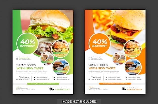 Panfleto de loja de hambúrguer & cartaz modelo vector. modelo de panfleto de restaurante Vetor Premium