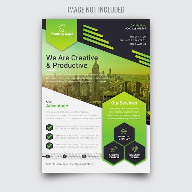 Panfleto de negócios verdes corporativos criativos Vetor Premium