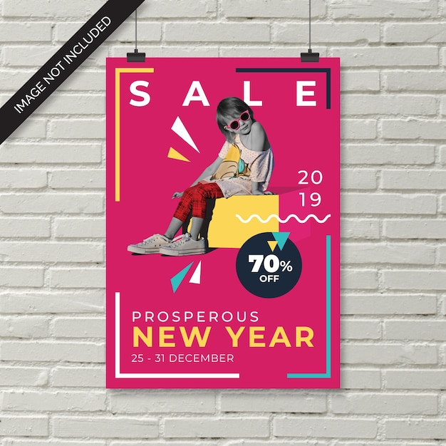 Panfleto de venda de moda de ano novo de crianças Vetor Premium