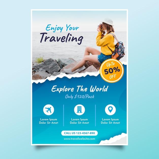 Panfleto de venda de viagens com foto) Vetor Premium