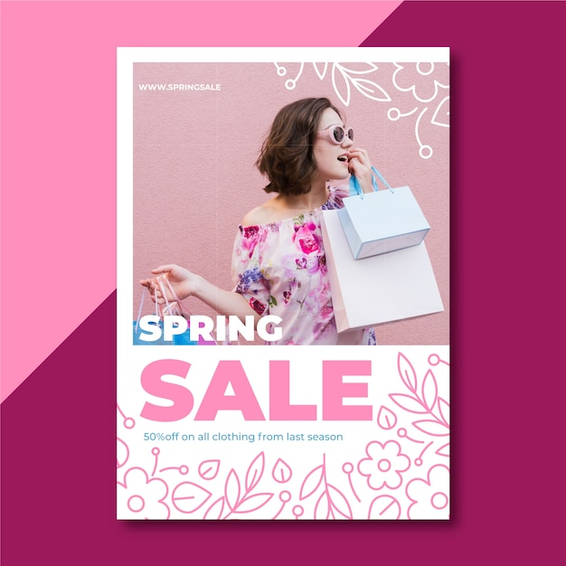 Panfleto de venda primavera com foto Vetor grátis
