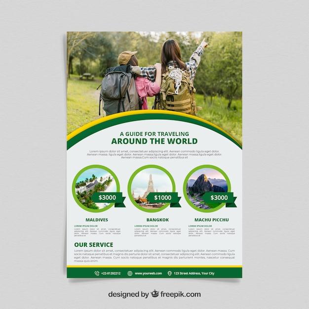 Panfleto de viagem com foto de destinos Vetor grátis