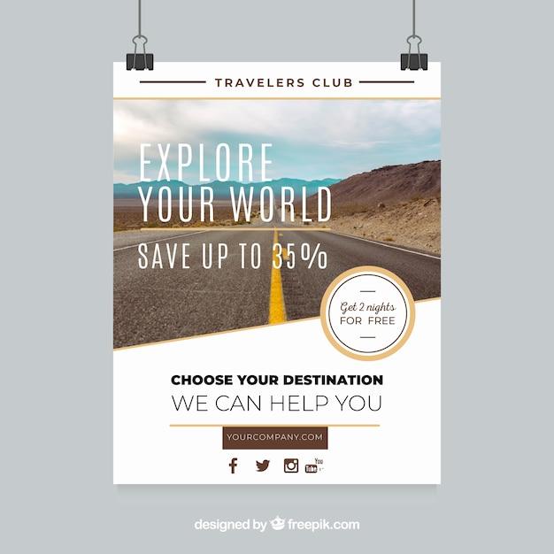 Panfleto de viagem com fotografia de destino Vetor grátis