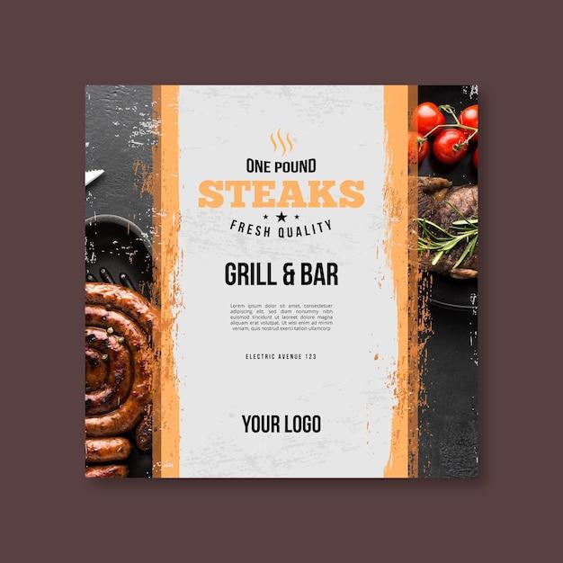 Panfleto quadrado de churrasco de comida fresca grelhada Vetor grátis