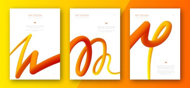 Panfletos com formas abstratas gradientes fluidos Vetor Premium