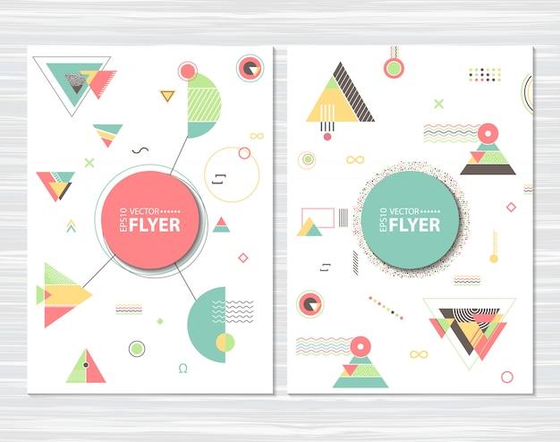 Panfletos com formas geométricas abstratas Vetor Premium
