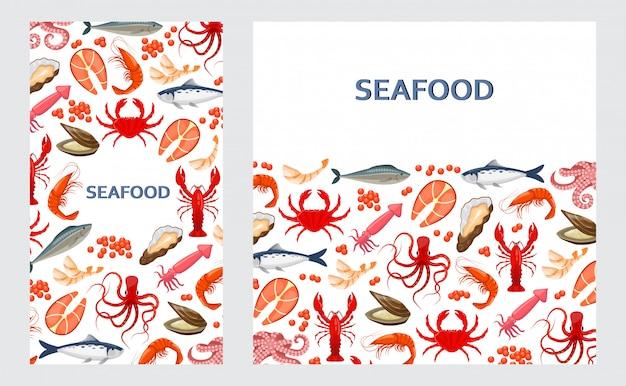Panfletos com frutos do mar Vetor Premium