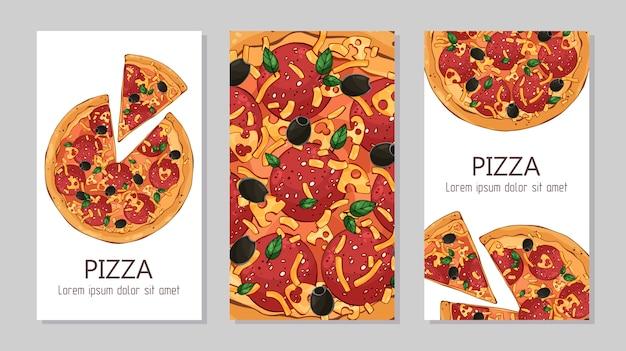 Panfletos modelo para produtos de publicidade: pizza. Vetor Premium