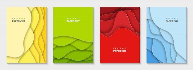 Panfletos verticais de vetor com corte de papel colorido Vetor Premium