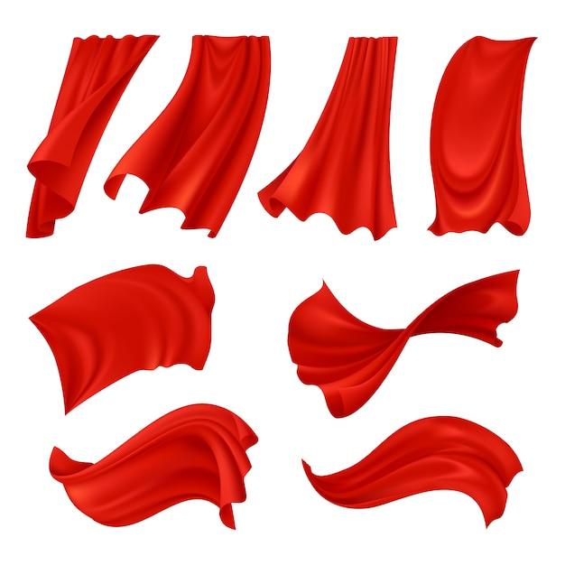 Pano vermelho ondulado realista Vetor grátis