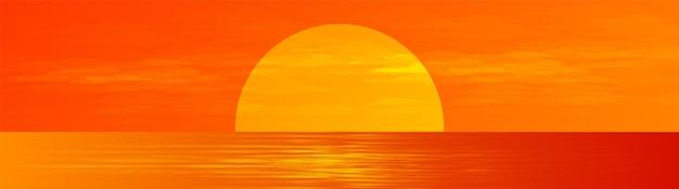 Panorama beautiful fullmoon em sunrise sea paisagem plano de fundo, sol e design de conceito horizontal. Vetor Premium