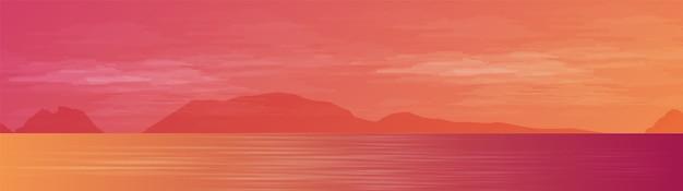 Panorama beautiful sea no fundo da paisagem, luz do sol e design de conceito do pôr do sol Vetor Premium