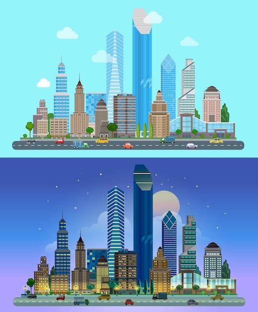 Panorama da cidade arranha-céus o céu ao fundo dia noite Vetor grátis