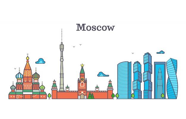 Panorama de linha do vetor de moscou, skyline da cidade moderna, símbolo de contorno da rússia, paisagem urbana plana Vetor Premium