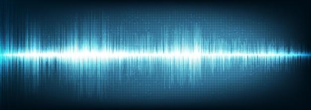 Panorama digital sound wave sobre fundo azul, conceito technology wave Vetor Premium
