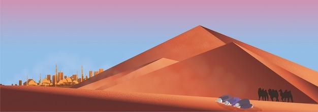 Panorama do homem muçulmano rezar no deserto. Vetor Premium