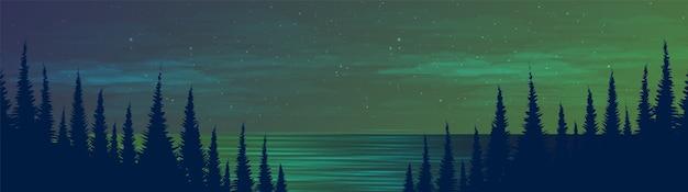 Panorama night river na floresta de pinheiros, fundo de paisagem, design de conceito frio e nebuloso. Vetor Premium