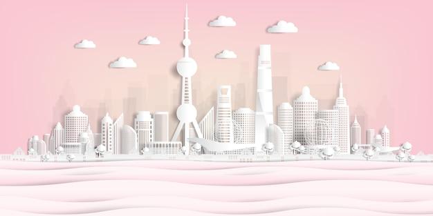 Panorama postal e cartaz de viagens do estilo de corte de papel de monumentos famosos do mundo Vetor Premium