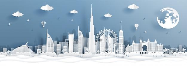 Panorama postal e cartaz de viagens ou skyline da cidade em estilo de corte de papel Vetor Premium