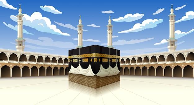 Panorâmica de kaaba para as etapas do hajj na mesquita de al-haram meca da arábia saudita, ilustração em céu azul com nuvens - eid adha mubarak Vetor Premium