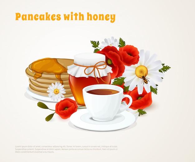 Panquecas com composição de mel Vetor grátis