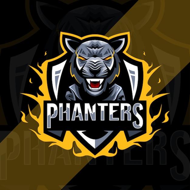 Pantera negra bonito mascote logotipo modelo esport Vetor Premium