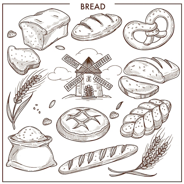 Pão aromático fresco, trigo e pão de centeio, pão em forma de pigtail, saco de farinha Vetor Premium