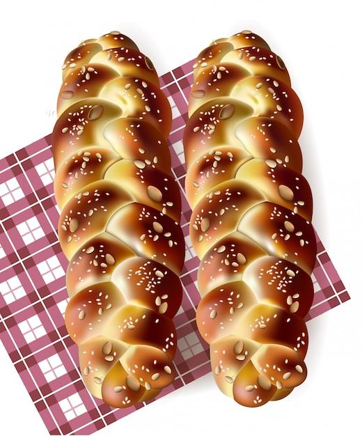 Pão assado saboroso no padrão de guingão Vetor Premium