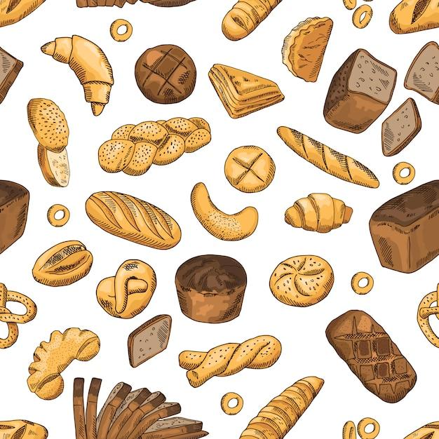 Pão, bagel, baguete e outros alimentos de padaria. padrão sem emenda de vetor em estilo retro. pão de trigo sem costura padrão fundo ilustração Vetor Premium